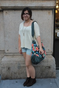 Top (Pacsun); shorts (TJ Maxx); shoes (Aerosoles); purse (Free People); necklace (Free People)