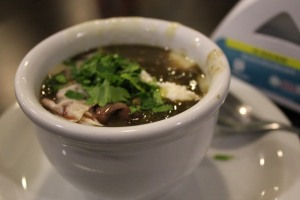 Lentil mixed with onion soup with heart of palm paste and parsley.