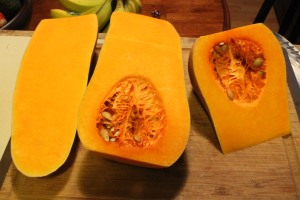 Butternut squash cut into shapes that don't make sense.