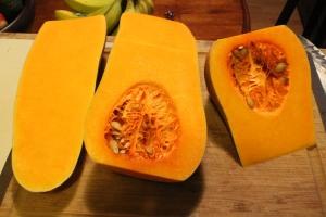 Butternut squash cut into shapes that don't make sense.