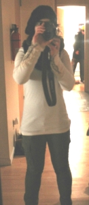 Thermal (Free People), hat (friend's mum knitted it), scarf (Urban Outfitters), pants (Uniqlo)