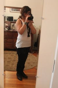 Not the most flattering pic, but I'm in pain, so I don't care. (tank top: Zara, pants: UO, shoes: Breckelle's).