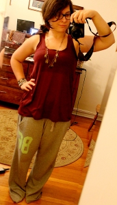 Sweat pants make everything better (Shirt: H&M, necklace: Free People, sweatpants: Victoria's Secret Pink).