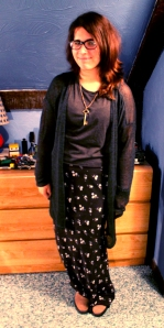 I look tall and goofy. (Sweater: H&M, Top: H&M, Boots: Zara, Skirt: Urban Outfitters, Necklace: Handmade by Matthew)