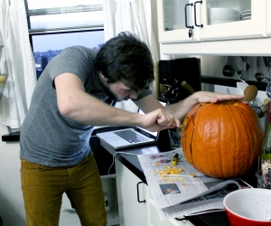 Michael is starting to carve his design.