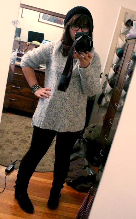 Sweater: Kensie, leggings: Lululemon, boots: Dolce Vita, hat: Urban Outfitters