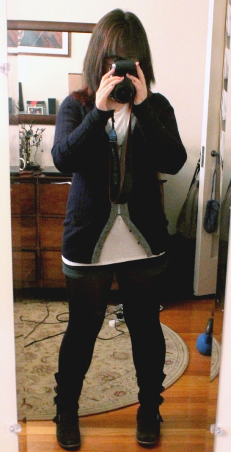 Cardigan: gift, shirt: Tobi, shorts: UO, tights: ???, boots: Dolce Vita