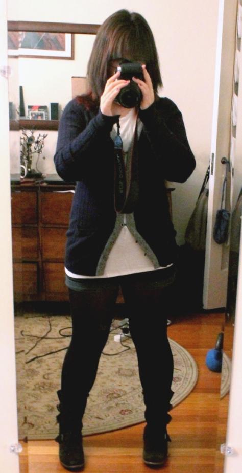 Cardigan: gift, shirt: Tobi, shorts: UO, tights: ???, boots: Dolce Vita
